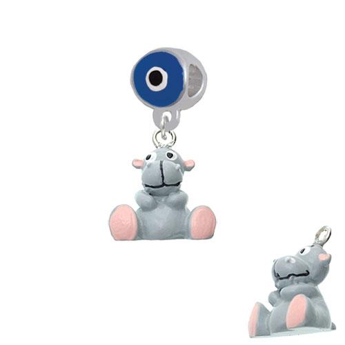 Resin Grey Hippopotamus Honey - Blue Evil Eye Charm Bead