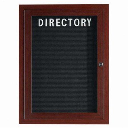 Aarco Products ADCWW3624R 1-Door Enclosed Aluminum Directory Cabinet - Walnut