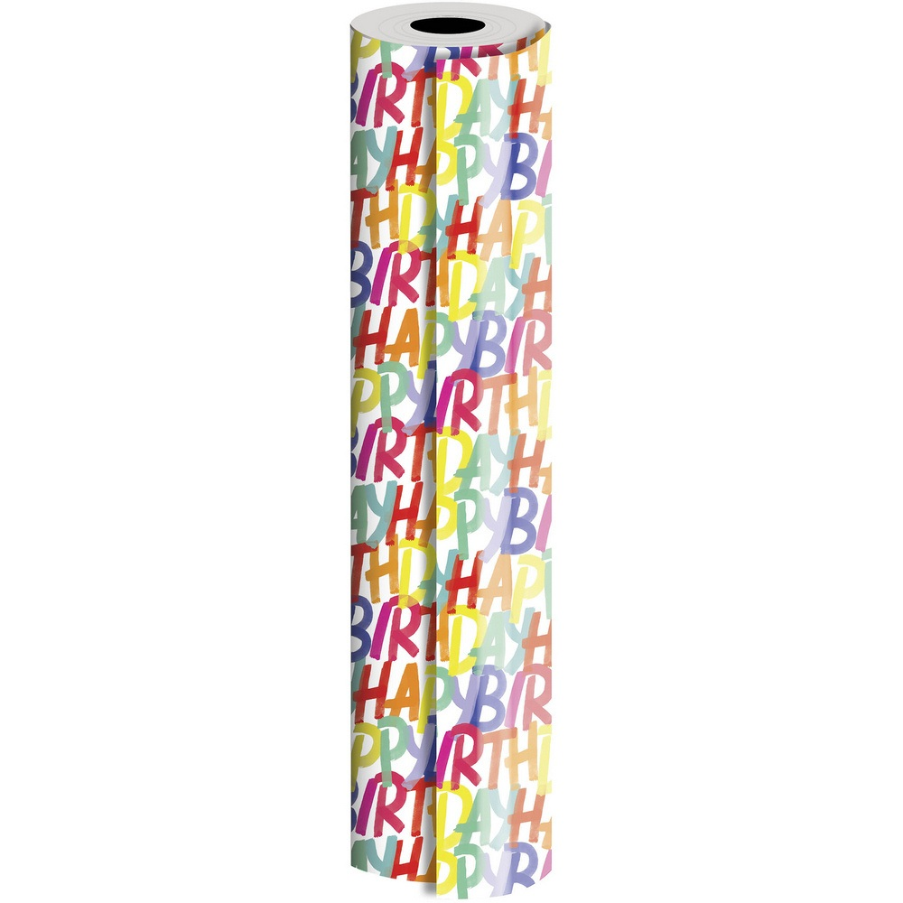 JAM Paper Industrial Size Bulk Wrapping Paper Rolls, Rainbow Happy Birthday Design, 1/4 Ream (416 Sq Ft), Sold Individually