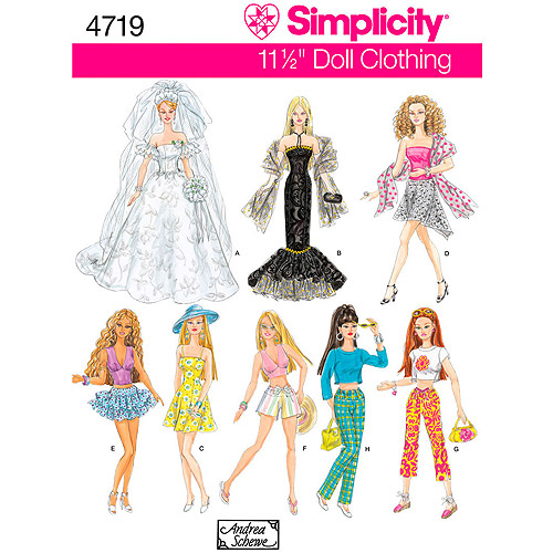 """Simplicity Pattern 11.5"""" Fashion Doll Clothes, One Size"""