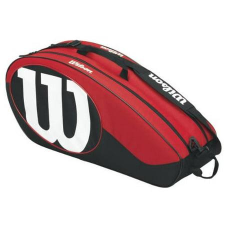 Wilson Match II Tennis Racket Bag, Red/Black, 6-Pack for $<!---->
