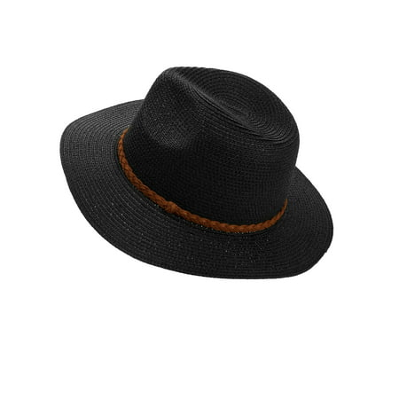 Time And Tru Women's Braided Band Wide Brim Fedora Straw (Wide Brim Fedora)