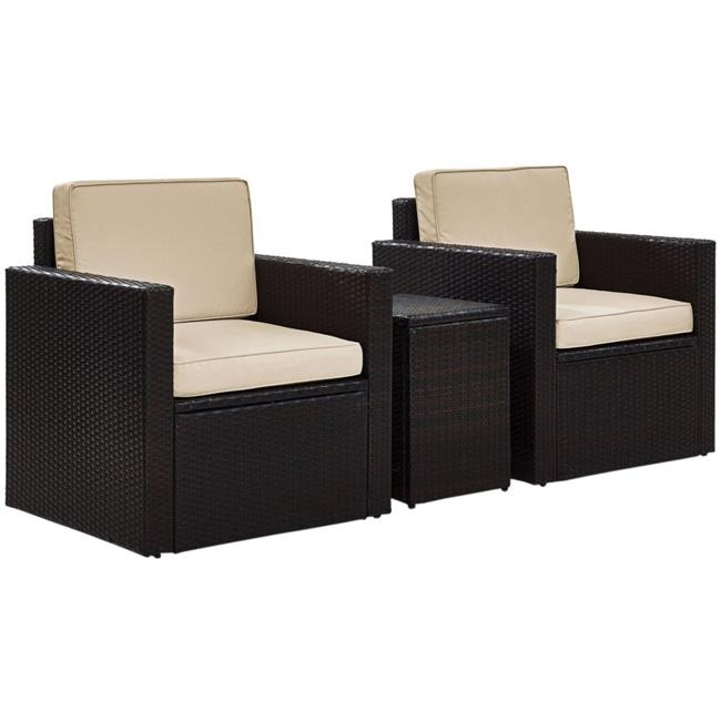Palm Harbor 3-Piece Outdoor Wicker Conversation Set with Sand Cushions - Brown