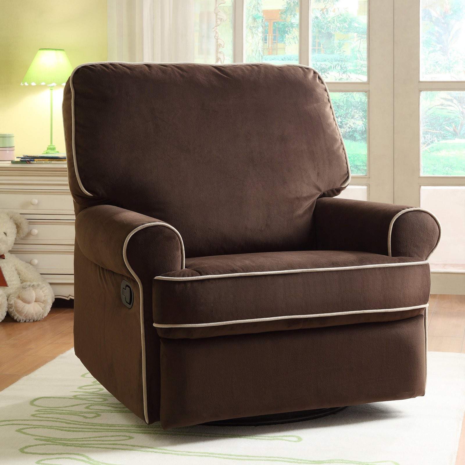 Home Meridian International Birch Hill Swivel Glider Recliner Stella Contrast Piping, Brown