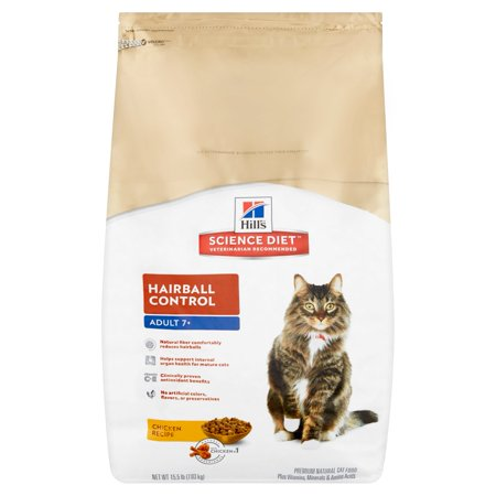 Hill's Science Diet Hairball Control Chicken Recipe Premium Natural Cat Food Adult 7+, 15.5 lb