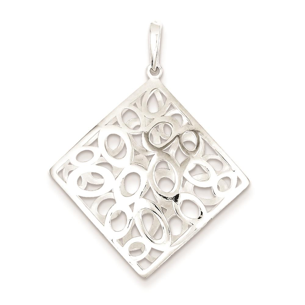 925 Sterling Silver Polished Square with Circles Charm Pendant