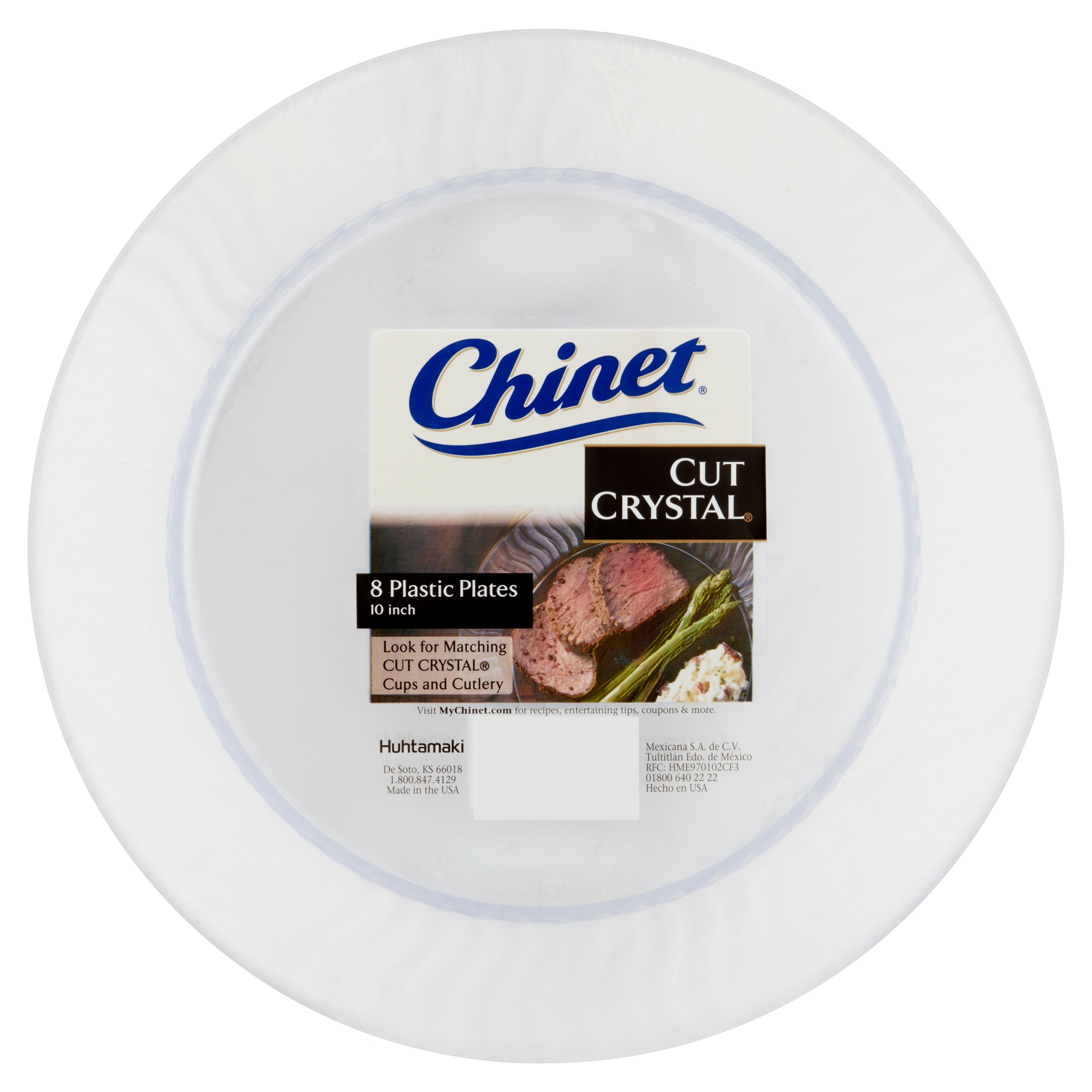 "Chinet Cut Crystal Plastic Plates, 10"", 8 count"