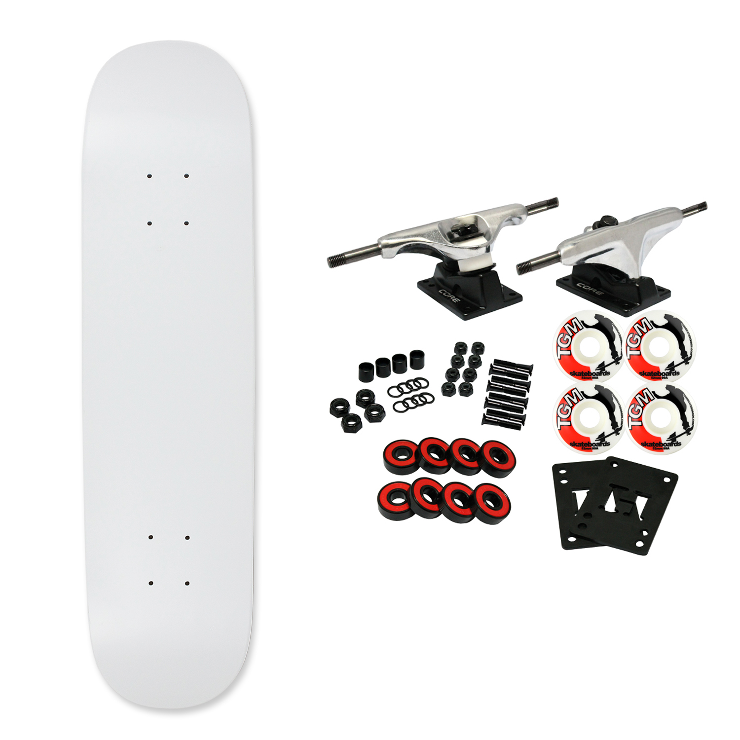 "Moose Complete Skateboard DIPPED WHITE 7.63"" Silver/White"