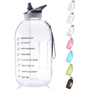 BOTTLED JOY 1 Gallon Water Bottle with Straw Lid, BPA Free Large Water Bottle with Motivational Time Marker Reminder Leak-Proof Drinking Big Water Jug for Sports Workouts and Outdoor Activ