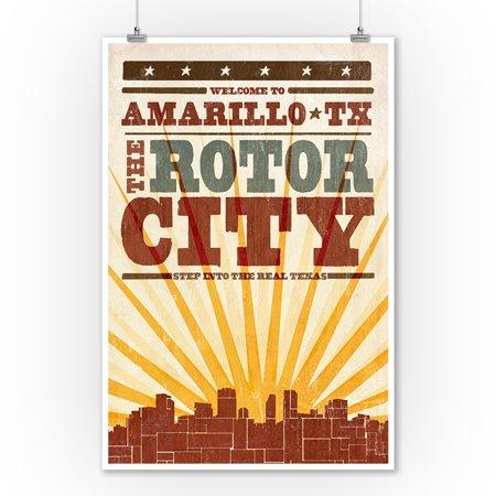 Amarillo, Texas - Skyline & Sunburst Screenprint Style - Lantern Press Artwork (9x12 Art Print, Wall Decor Travel Poster) ()