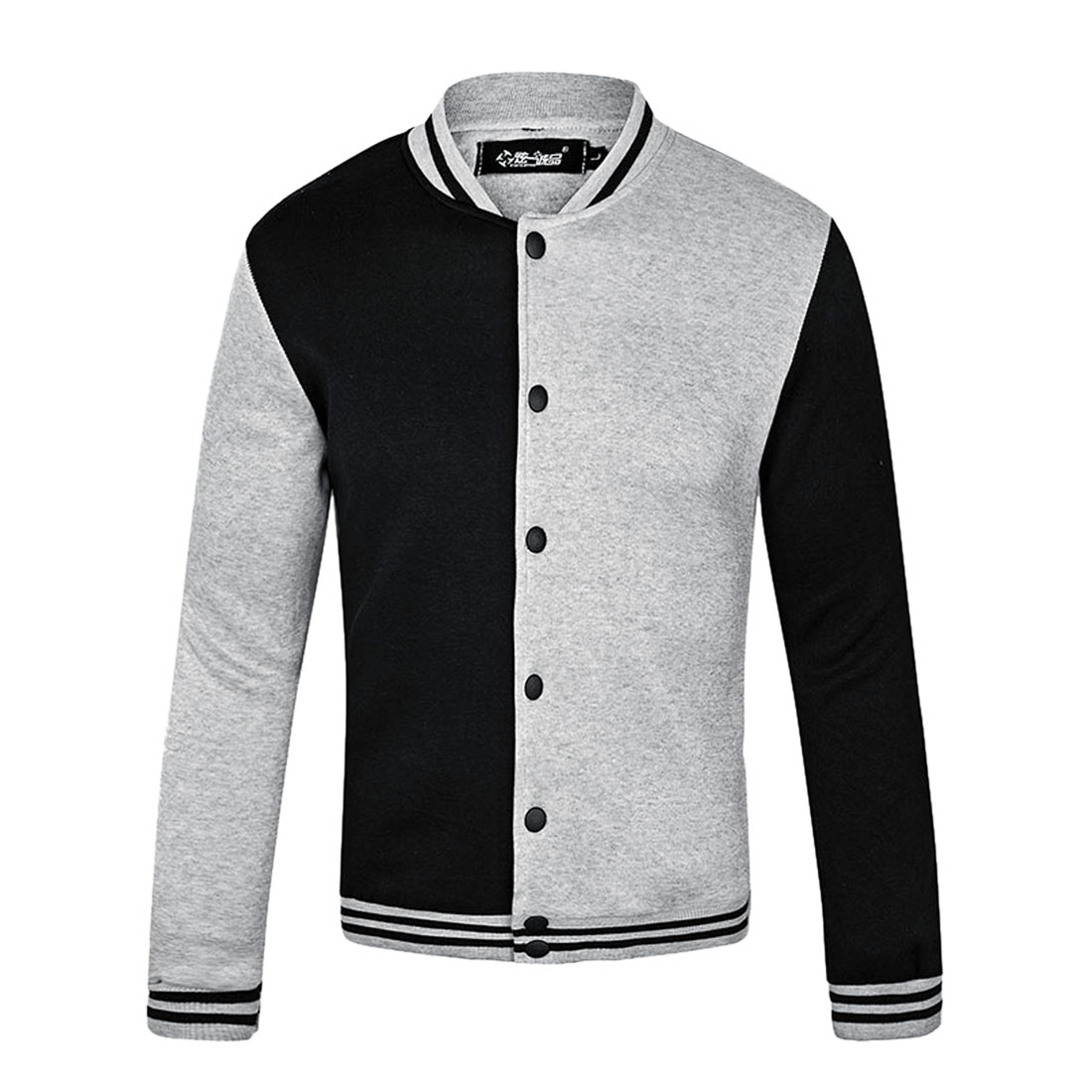 Unique Bargains Men's Stand Collar Snap Fasten Up Casual Baseball Jackets (Size M / 40)