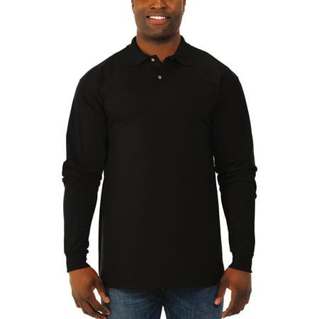 - Jerzees Men's spotshield long sleeve polo sport shirt