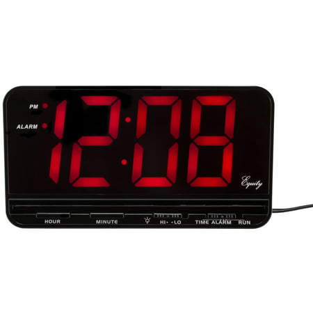 Equity by La Crosse 30402 Extra-Large 3 In. Red LED Electric Alarm Clock with HI/LO
