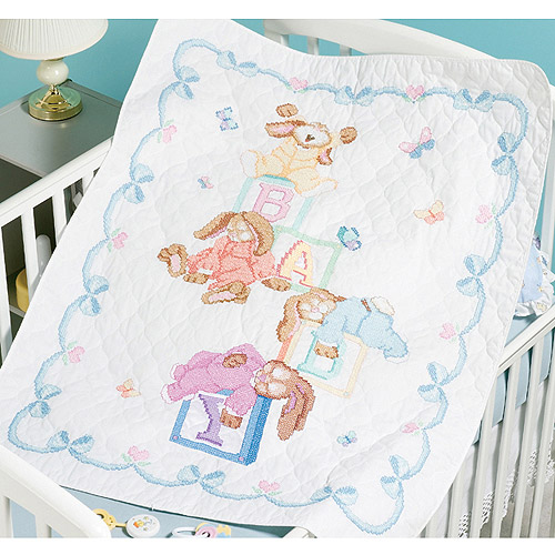 "Sleepy Bunnies Quilt Stamped Cross Stitch Kit-34""X43"""