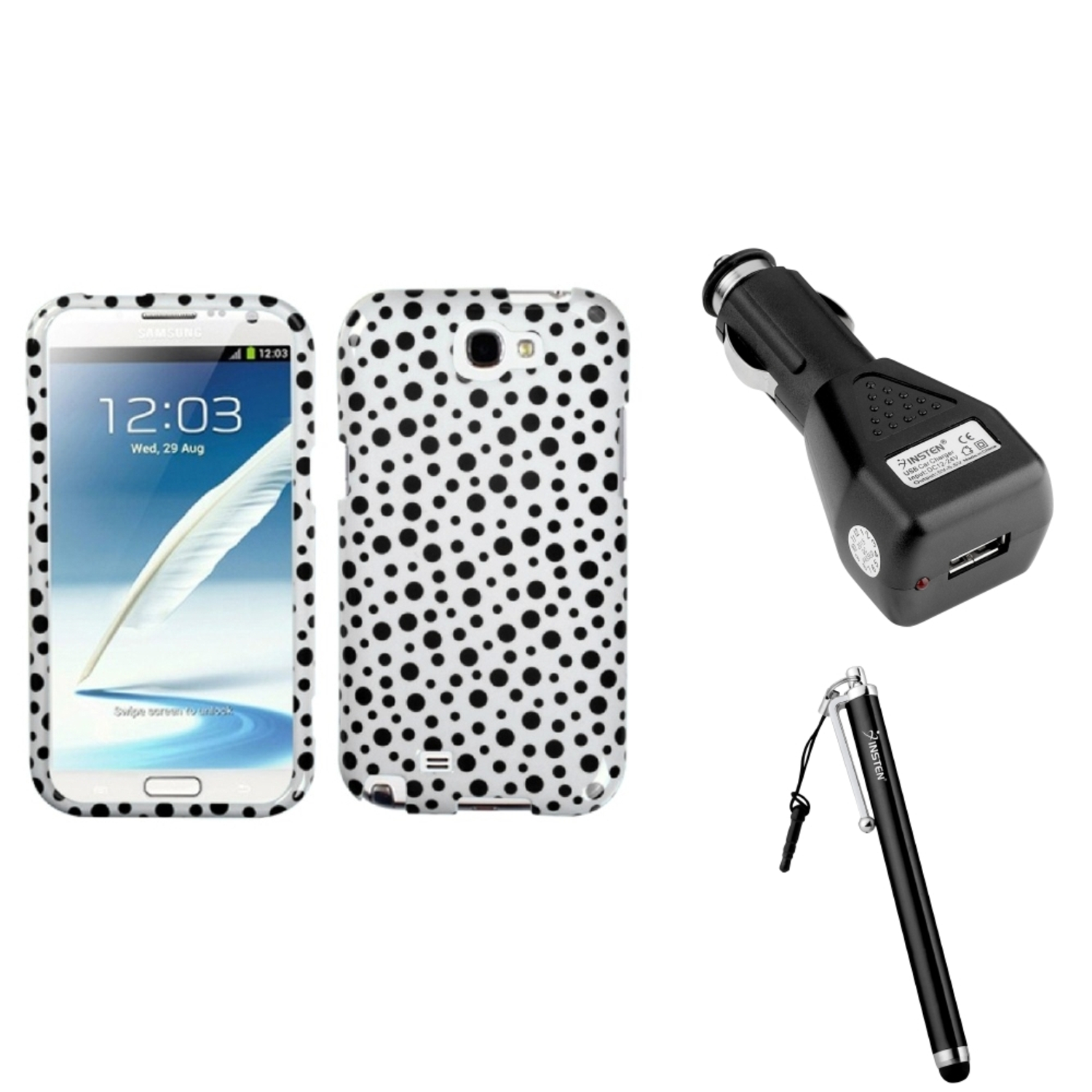 Insten Black Polka Dots Hard Case+Car Charger Adapter+Stylus For Samsung Galaxy Note 2