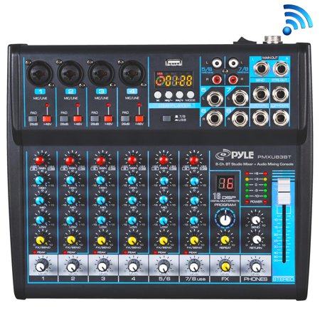 One Dj System (PYLE PMXU83BT - 8-Ch. Bluetooth Studio Mixer - DJ Controller Audio Mixing Console System)