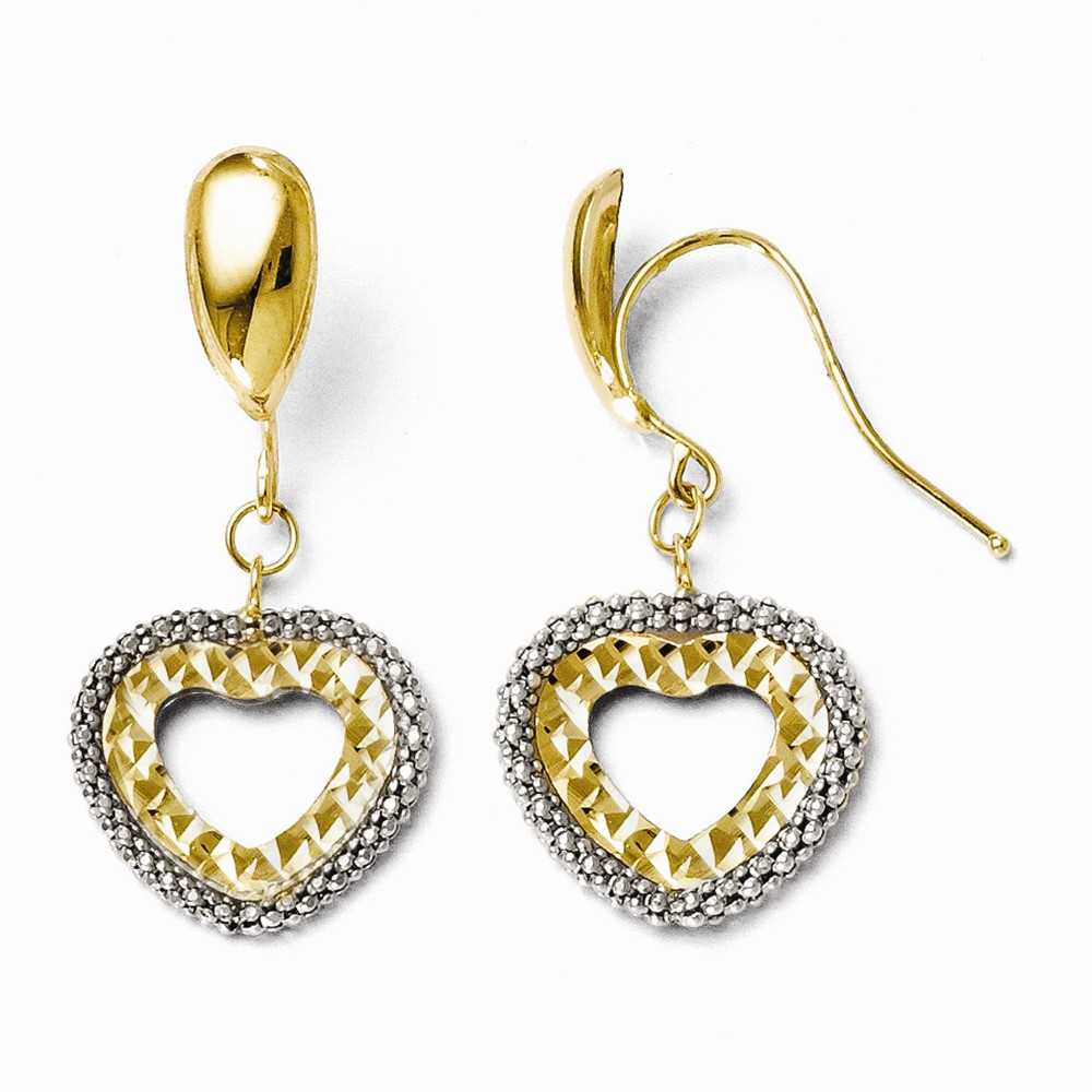 14k Two-Tone Gold Rhodium Polished and D/C Heart Earrings (1.1IN x 0.5IN )