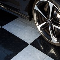 "FlooringInc Nitro Tiles 12""x12"" - Diamond Pattern Black | Great for Garage Flooring and Trailer Flooring"
