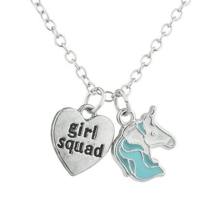 Lux Accessories Silver Tone Girl Squad Unicorn Novelty Charm Pendant Necklace ()
