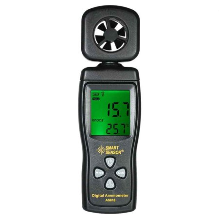SMART SENSOR AS816 Multifunctional Anemometer LCD Wind Speed Meter Air Velocity Gauge Windmeter Temperature Measuring