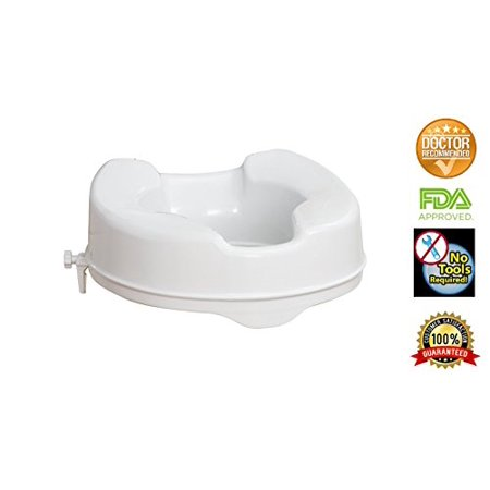 Elevated Toilet Seat Riser (Raised Toilet Seat by HEALTHLINE, Elevated Hinged Toilet Seat Riser for Elderly and Seniors, Round Elongated, Plastic, Portable, Extra Wide, White, 4 inch )