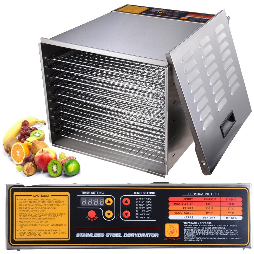 1200W 10 Tray Commercial Food Dehydrator w/ 10 Stainless Steel Shelves Digital Timer