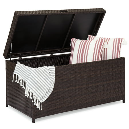 - Best Choice Products Outdoor Wicker Patio Furniture Deck Storage Box for Cushions, Pillows, Pool Accessories - Brown