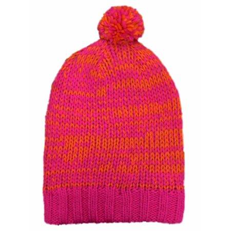 So - So Womens Pink   Orange Speckled Knit Beanie Stocking Pom Pom Cap Hat  - Walmart.com e947d9c0e