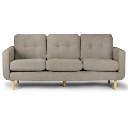 Alia Modern Sandy Grey Fabric Sofa With Removable Cushions