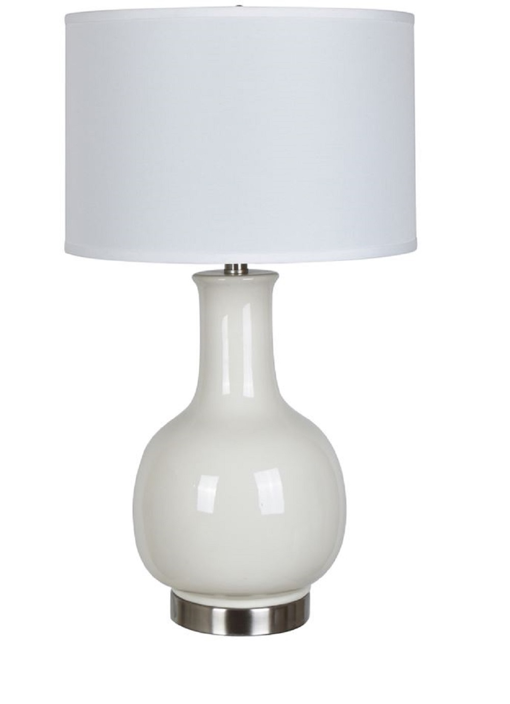 Merveilleux Swanley 26.5 Inch Ceramic And Stainless Steel Drum Table Lamp, White    Walmart.com
