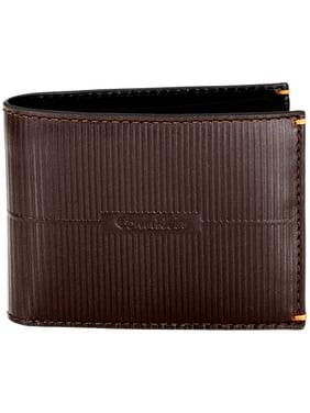 Calvin Klein Textured Men's Medium Brown Leather Slimfold Wallets 2979803-BRN
