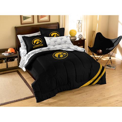 NCAA Applique Bedding Comforter Set with Sheets, University of Iowa