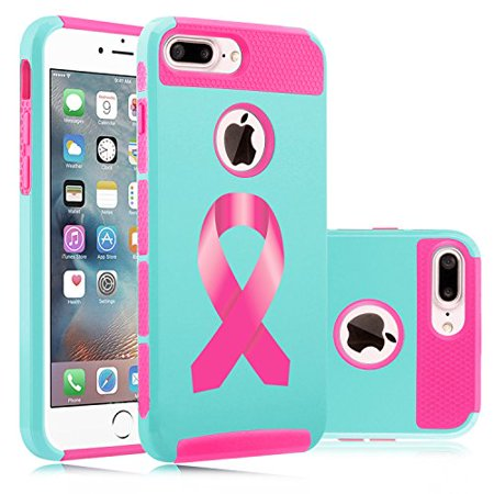 For Apple (iPhone 8 Plus) Shockproof Impact Hard Soft Case Cover Breast Cancer Color Awareness Ribbon (Light Blue-Hot Pink)