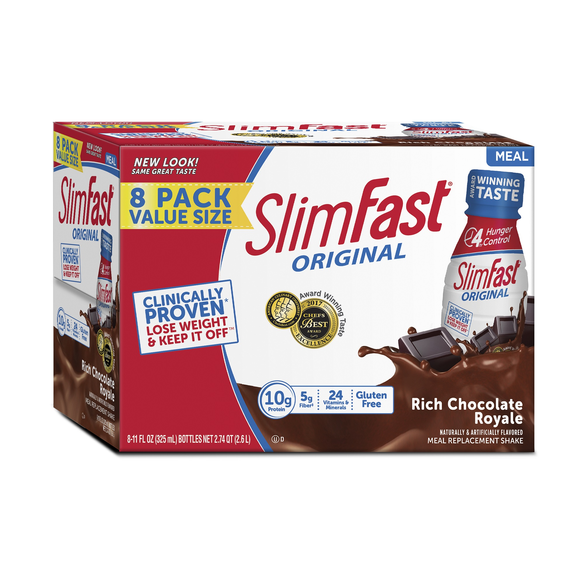 SlimFast Original Meal Replacement Shakes, Rich Chocolate Royale, 11 Fl oz, 8 Ct