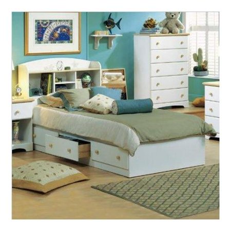 Kids Twin Bookcase Storage Bed Set in White (White Kids Beads)