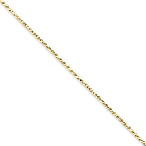 14k Yellow Gold 8in 1.4mm D/C Machine-Made Lobster Clasp Rope Chain Bracelet/Wt-2.46g