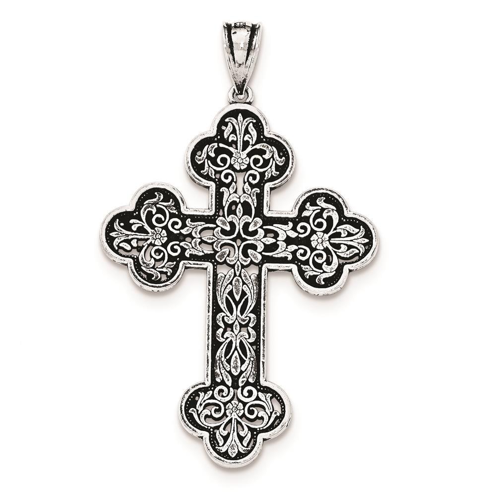 925 Sterling Silver Antiqued Large Filigree Cross Charm Pendant