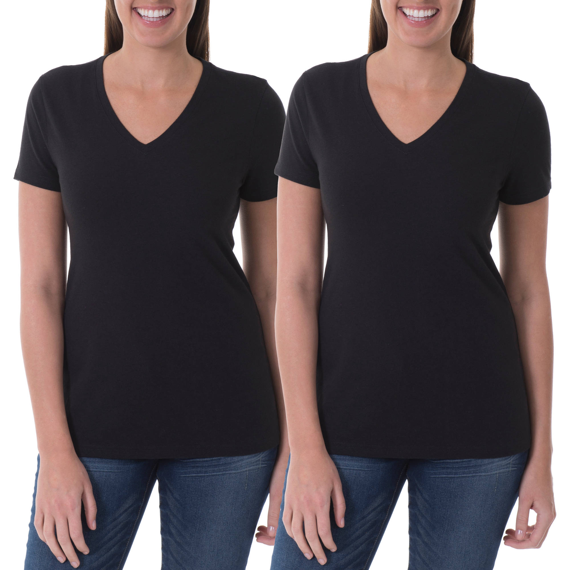 Faded Glory Women's Essential Short Sleeve V- Neck T-Shirt, 2 Pack Value Bundle