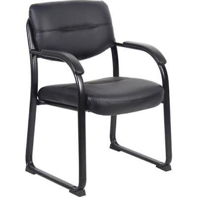 Boss High Back LeatherPlus Side Chair With Arms, Sled Base, Black