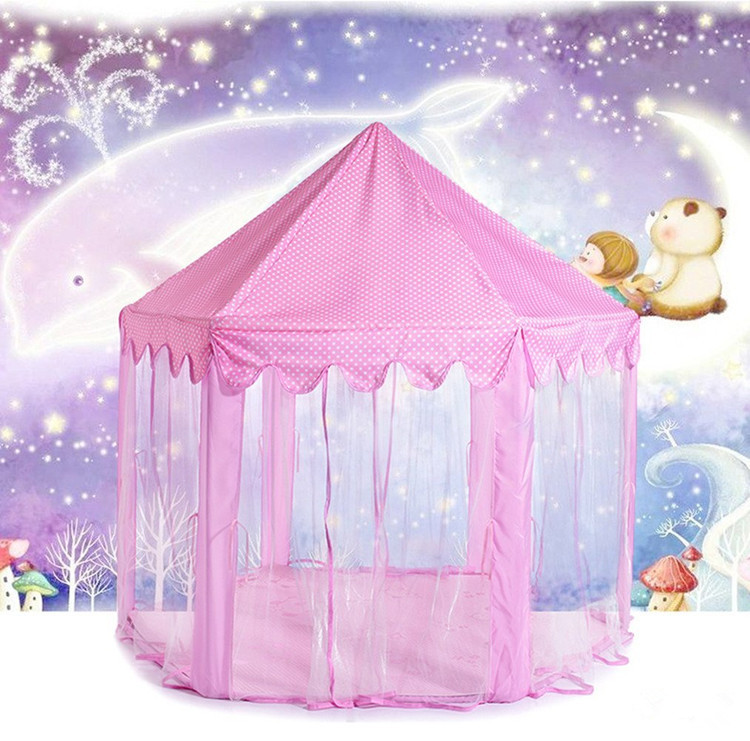 Princess Palace Playhouse Pink Play Castle Huge Play Tent Kids Castle Fort Playtent for Children Girls with Storage Bag for both Indoor and Outdoor Use