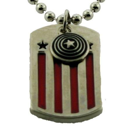 Captain America Star Avengers US Flag Colors Metal Necklace Marvel Comics Movie - Avengers Jewelry