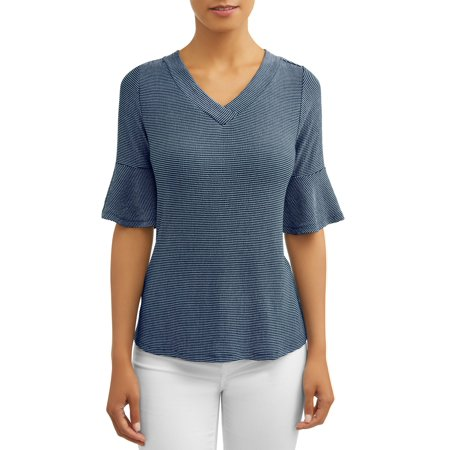 - Women's Frill Sleeve V-Neck Top