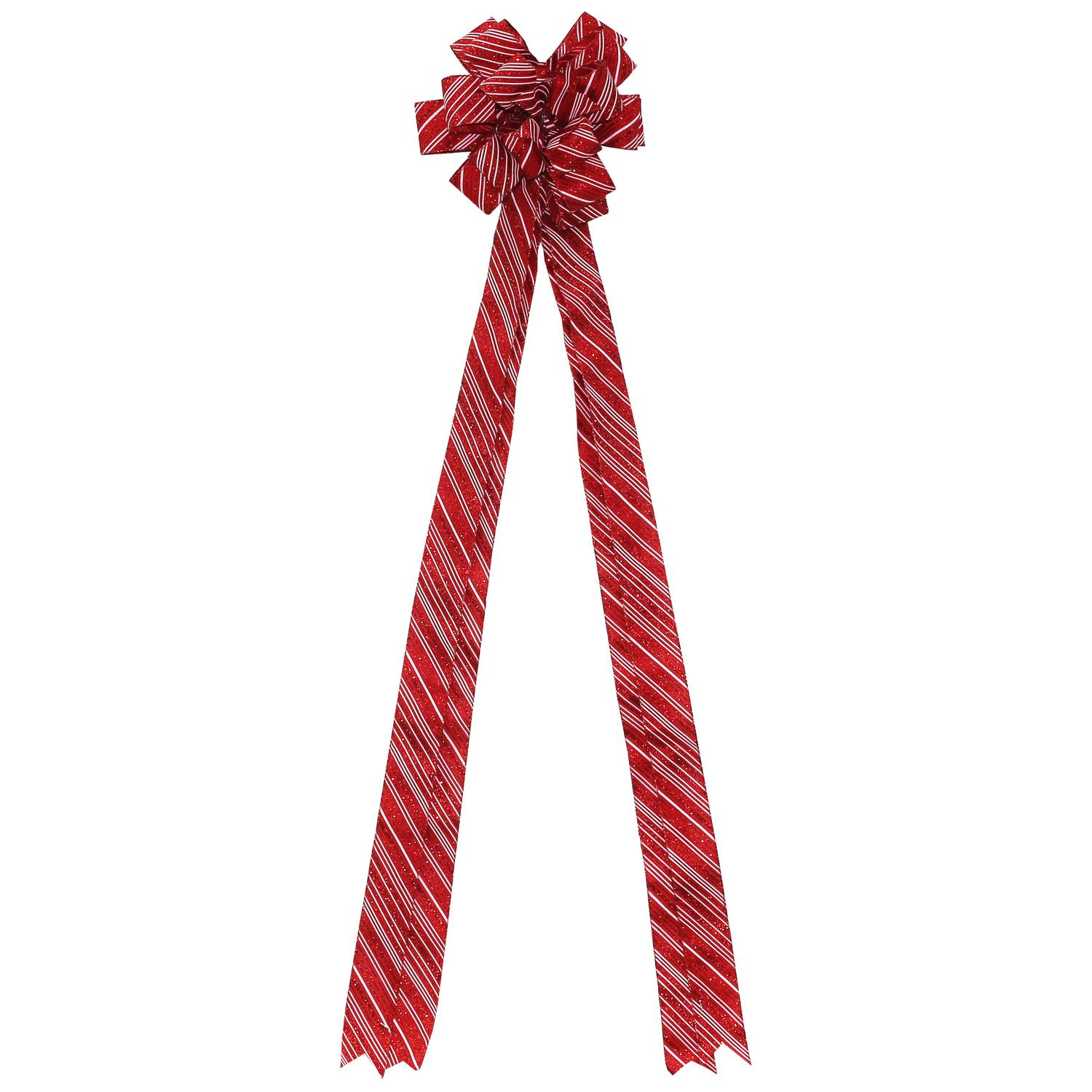 "48"" Red and White Candy Cane Glitter Stripe 16 Loop Christmas Tree Topper Bow Decoration"