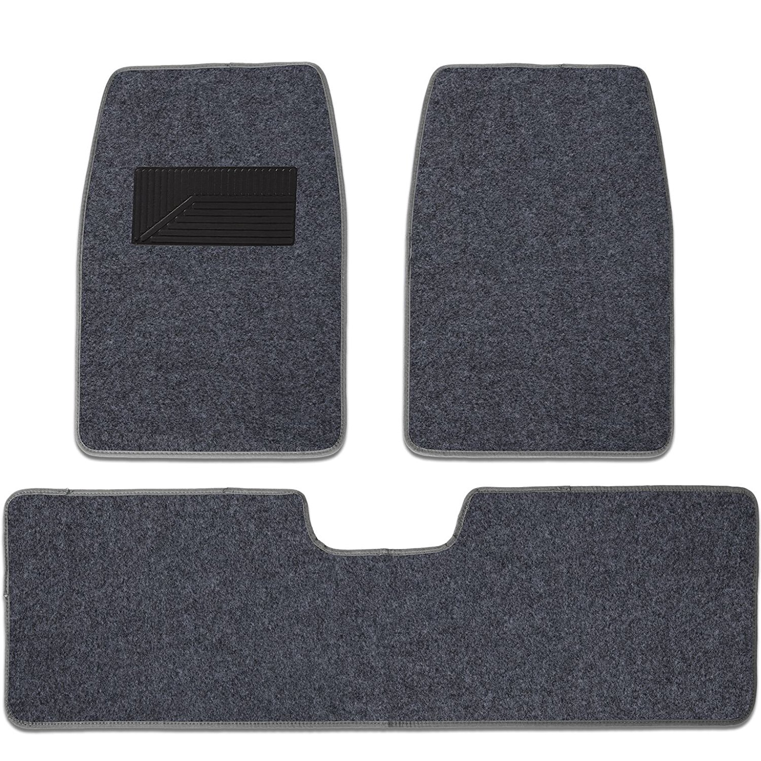 Charcoal Dark Gray Grey Universal 3pc Set Durable Premium Carpet Floor Mats with Heel Pad - may fit for Cars Trucks Sedans SUVs
