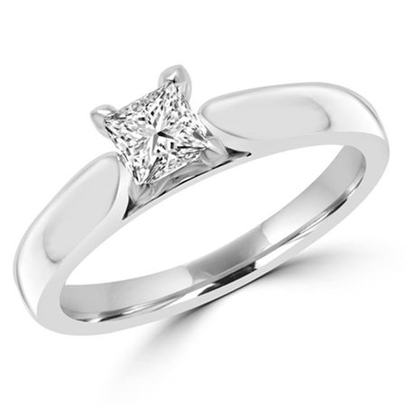0.38 CT Classic 4-Prong Princess Diamond Solitaire Engagement Ring in 14K White Gold, Size 4