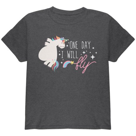 Halloween Chubby Unicorn One Day I Will Fly Youth T Shirt (Halloween Days Out)