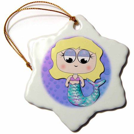 3dRose Cute Blonde Hair Mermaid Girl With Iridescent Fin and Bubbles Background Fantasy Gifts - Snowflake Ornament, 3-inch (Hair Baubles)