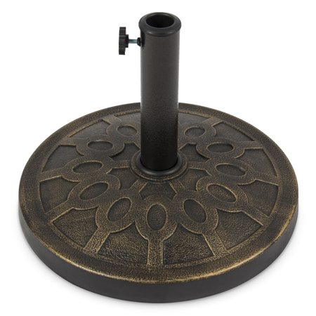 Rattan Finish Base (Best Choice Products 18in Heavy Duty Round Steel Patio Umbrella Base Stand, 29lbs w/ Rust-Resistant Finish, Rustic Design - Bronze)