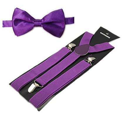 Purple Men's Suspenders and Bow tie Set Pre-tied Adjustable Bowtie and Y-Back Clip for Wedding - Glitter Bow Tie