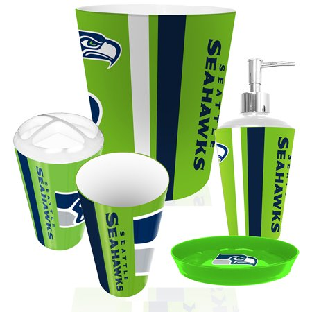 Seattle seahawks nfl complete bathroom accessories 5pc set for Entire bathroom sets